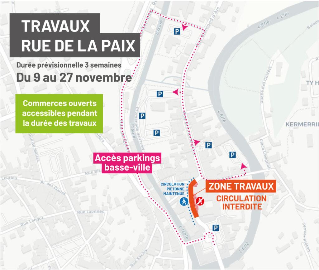 Plan travaux rue de la Paix - accès